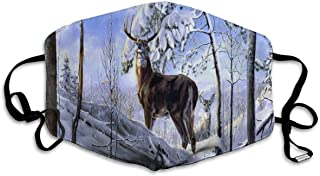 Deer Winter Forest Snow Trees Face Mask - Comfortable, Re-Usable Anti Dust Mask - Filters Dust, Pollen, Allergens, Flu Germs - Allergy Mask - Ideal for Dog Grooming, Gardening, Sanding