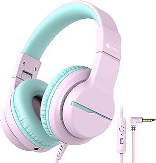 iClever HS19 Hoofdtelefoon voor kinderen, met microfoon, volumebegrenzer 85/94dB, Sharing-functie, opvouwbare hoofdtelefoo...