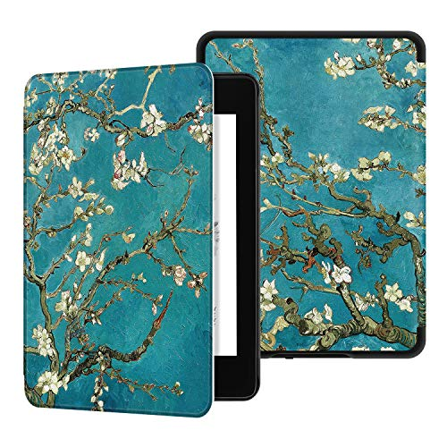 Ayotu Water-Safe Case for Kindle Paperwhite 2018 - PU Leather Smart Cover with Auto Wake/Sleep - Fits Amazon All-New Kindle Paperwhite Leather Cover (10th Generation-2018) K10 The Apricot Flower