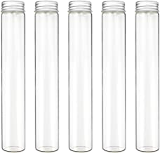 DEPEPE Glass Test Tube - 18pcs 100ml Clear Flat Glass Test Tubes with Screw Caps, 30×165mm