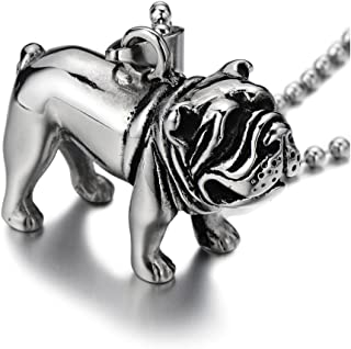Stainless Steel Bull Dog Pit Bull Pendant Necklace for Men Polished with 23.6 in Ball Chain