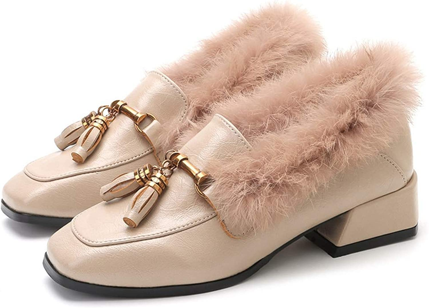 Fashion shoesbox Women's Penny Loafer shoes Warm Fur Metallic Chain Casual Slip On Low Heel Daily Walking shoes Loafers