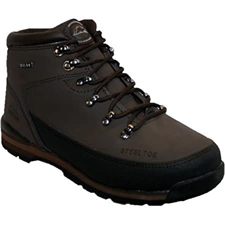 MENS LEATHER UPPERS SMART/CASUAL LACE UP STEEL TOE CAP SAFETY BOOT BROWN 10