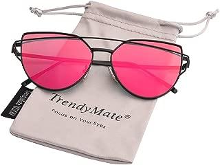 Womens Street Fashion Metal Twin Beam Flat Mirror Lens Cat Eye Sunglasses
