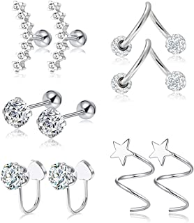 Tornito 9-12Pcs 16G 18G Stainless Steel Cartilage Tragus Earrings Helix Conch Daith Piercing Jewelry CZ Star Hoop/Wrap Earrings for Women Men