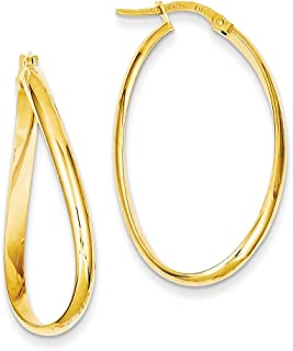 Lex & Lu 14k Yellow Gold Twisted Oval Hoop Earrings LAL79433
