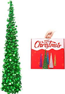 N&T NIETING Christmas Tree, 5ft Collapsible Pop Up Green Tinsel Christmas Tree Coastal Christmas Tree for Holiday Xmas Decorations, Home Display, Office Decor