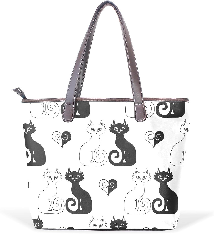 COOSUN Katzen und Herz-große Taschen-PU-Leder-Handgriff-Schulter-Beutel-Taschen-Tasche L (33x45x13) (33x45x13) (33x45x13) cm MultiFarbe   003 B07C3NWRLQ  Optimaler Preis 6a1b8a