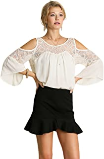 Umgee Women's Lace & Cold Shoulder Tunic Top