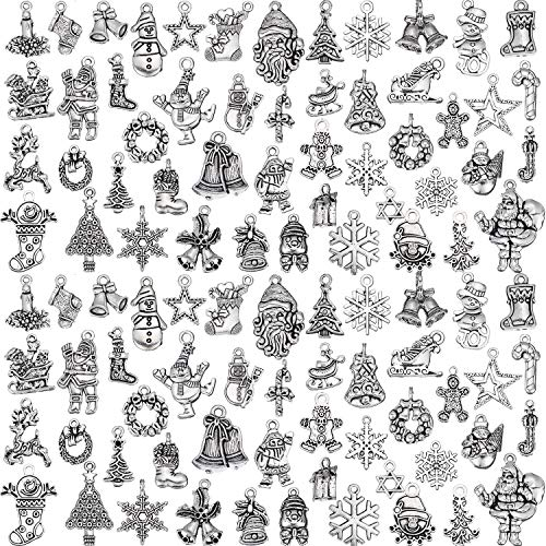 100 Pieces Christmas Charms Antique Silver Pendants Christmas Jewelry Pendant Accessory for DIY Necklace Bracelet