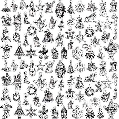Hicarer 100 Pezzi Ciondoli Di Natale Glamour Argento Antico Ciondoli Gioielli Di Natale Accessorio Per Bracciale Collana Fai-Da-Te