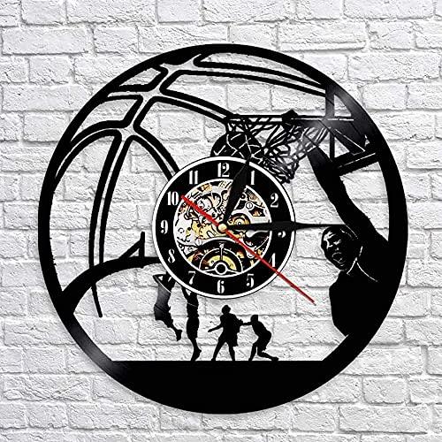 hhhjjj Juego de Baloncesto Reloj de Pared con Disco de Vinilo led Estilo Retro Muebles para el hogar mudos Especiales de Arte únicos Muebles para el hogar Regalos Personalizados creativos