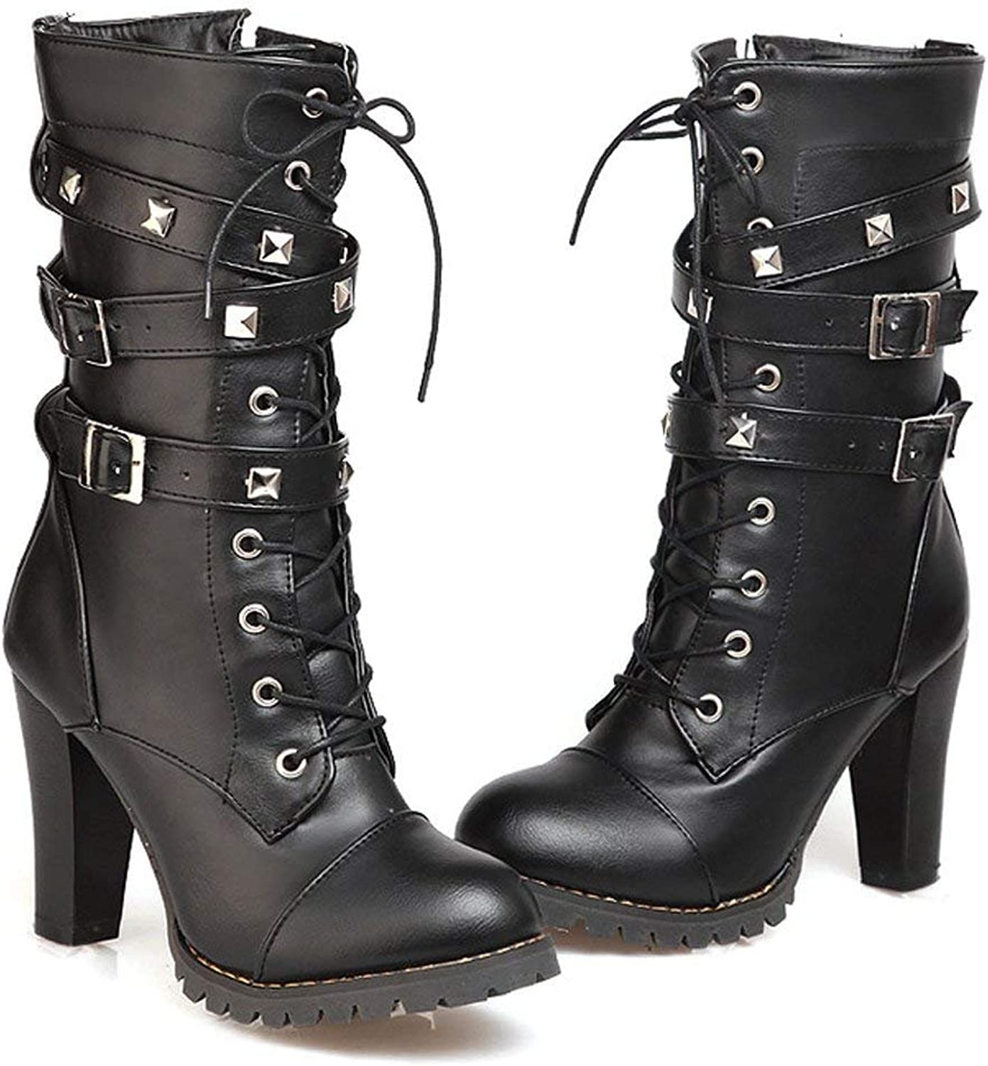Women Motorcycle High Heels Punk Buckle Rivet Strap Combat Military Mid Calf Boots(0 0)