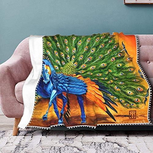 Flanelldecke mit Pompon-Fransen, leichte warme Decke für Bett, Couch, Sofa, Stuhl, Büro, 152,4 x 127 cm, Pfau Pegasus Melissa A Benson