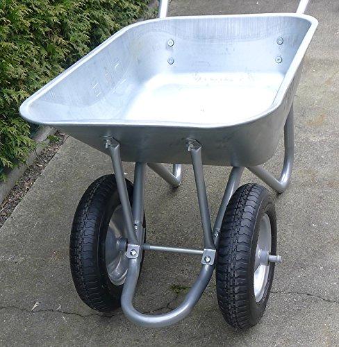 Schubkarre mit 2 Rädern, 100L, Stahl, robust, Beschichtet, Luftreifen mit Stahlfelge - 4