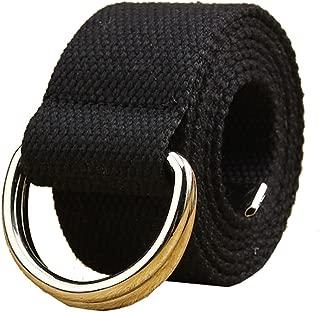Maikun Mens & Womens Canvas Belt with Black D-ring 1 1/2