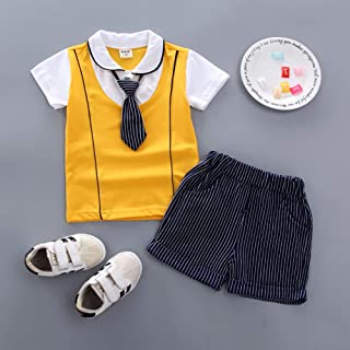 RONSHIN 2pcs/Set Boy Sports Suit Baby Gentleman Tie Pattern Short Sleeve T-Shirt + Short Suit
