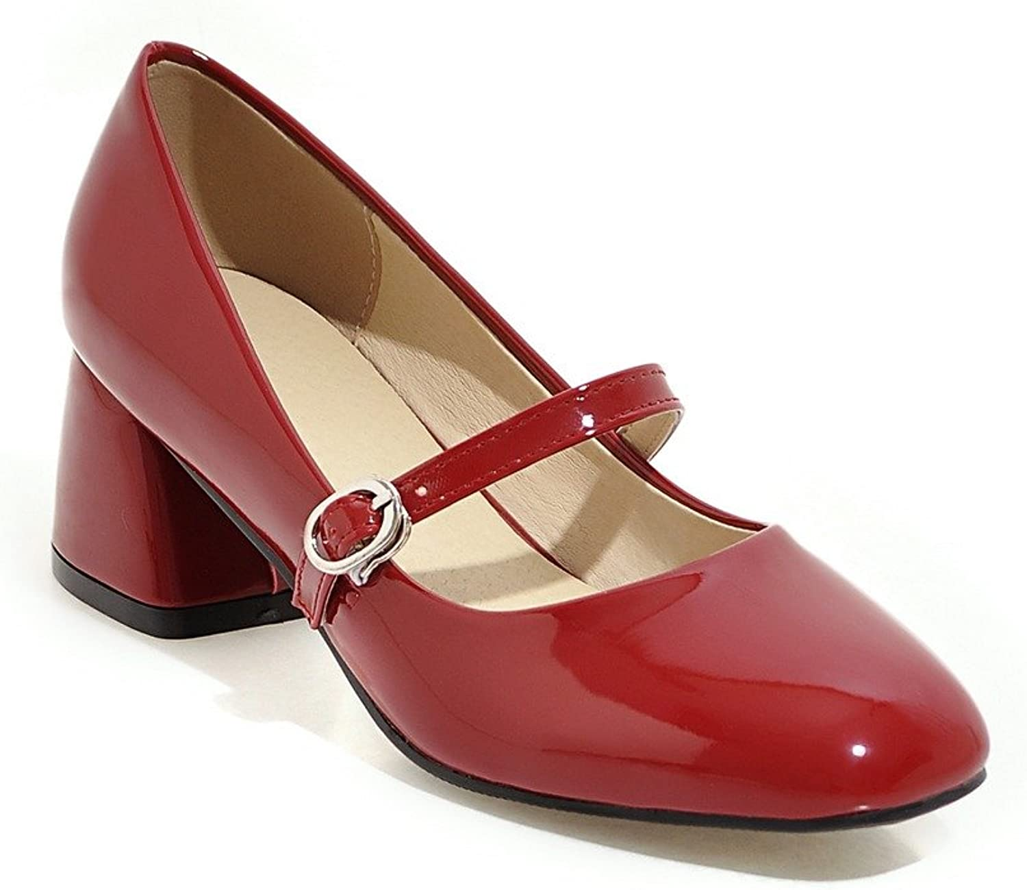 BalaMasa Ladies Buckle Chunky Heels Square-Toe Patent-Leather Pumps shoes