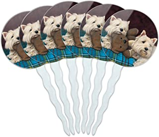 GRAPHICS & MORE Westie West Highland White Terrier Dogs Teddy Bear Cupcake Picks Toppers Decoration Set of 6