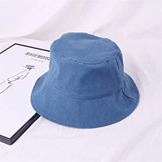 SHENTIANWEI Japanese Literary flattened Large Brimmed hat Korean Men and Women Wild Summer Solid Color Cotton hat Visor Basin Cap (Color : Blue, Size : One Size)