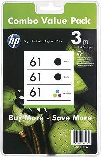 HP Genuine #61 Black & Color Ink 3-Pack for Deskjet 1000/2000/3000 Series 3YP08AA