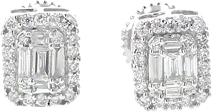 Diamond Earrings 14K White Gold 0.40ctw Baguette and Round Cut Rectangular Shaped Screw Back 7mm