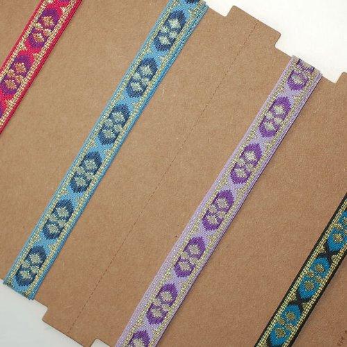 The Yard Neotrims Ruban de brocade fin et doux Satin/métal Motif jacquard indien Or/rose/bleu/turquoise 10 mm