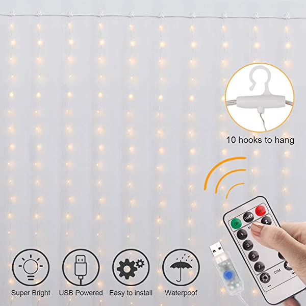 Curtain Lights 8 Modes Fairy Lights String With Remote Controller IP64 Waterproof USB Plug In Twinkle Lights For Weddings Parties Backdrop Wall Decorations 300 Led 9 8x9 8Ft Warm White