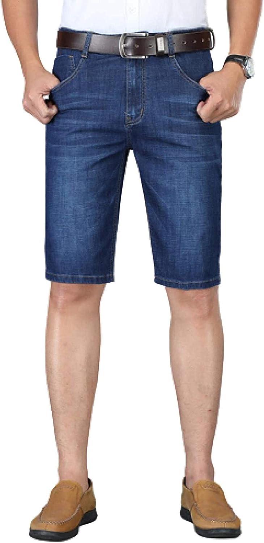 LLTT Men's Stretch Wash Jeans Shorts High Waist Straight Casual Five-Point Denim