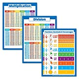 3 Pack - Multiplication Tables Poster + Division + Fractions, Decimals & Percentages - Math Chart Set (Laminated, 18' x 24')