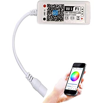 SUPERNIGHT WiFi Wireless LED Smart Controller Working with Android and iOS System Mobile Phone Free App for 16.4ft 300 LEDs RGB LED Light Strips Compatible with Alexa Google Home
