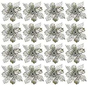 WAQIA 16 Pack Poinsettia Flowers Artificial Christmas Decorations Glitter Poinsettia Christmas Tree Ornaments (Silver)