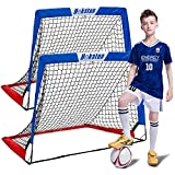 Hekaton Soccer Goals, Portable Soccer Goal for Kids for Backyard, Toddler Soccer Goal Set of 2 with Carry Case, 3.5'/ 5' x 3'