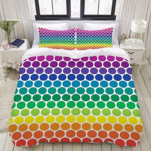 888 Juego de funda de edredón y fundas de almohada, diseño de lunares, multicolor (135 x 200 cm)