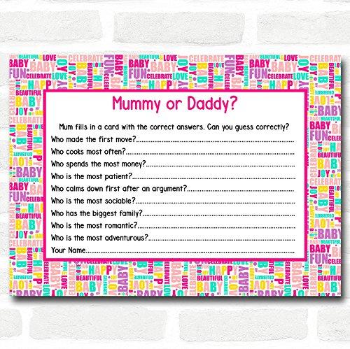 Baby Douche Spelletjes Leuke Woorden Raad Wie Spel Kaarten 8 x Cards
