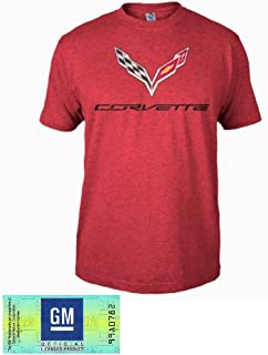 C7 Corvette Logo Flag T-Shirt : Heather Red