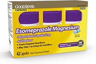 Good Sense Esomeprazole Magnesium Delayed Release Capsules 20 Mg, Acid Reducer, Treats Heartburn, 42Count