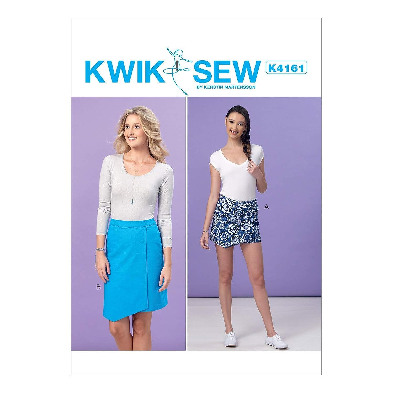 KWIK-SEW PATTERNS K4161 Misses' Shaped-Overlay Skort & Skirt, All Sizes