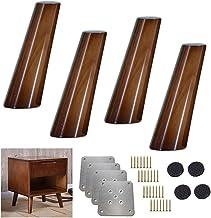 4X massief houten keukenmeubelpoot, 80 & deg;Schuine kegel bankvoeten, walnoot kleur tafelpoot vervangende voeten, voor f...