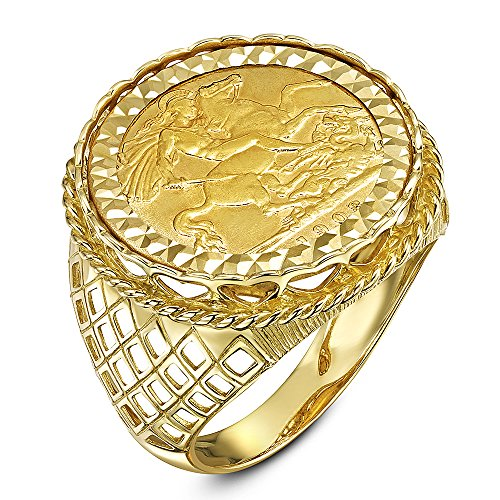 Theia Men's 9 ct Yellow Gold Diamond Cut Patterned Set with 22 ct Half Sovereign Coin Ring, Size U
