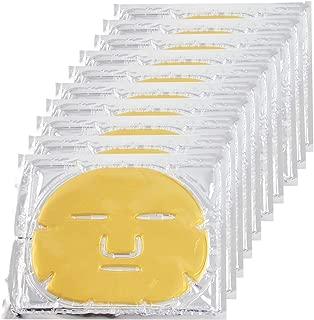 EZGO 10 Pieces 24K Gold Bio-Collagen Renewal Facial Mask, Collagen & Elastin Beauty Mask For Anti-Aging, Tighten Skin & Revitalize Skin (Gold)