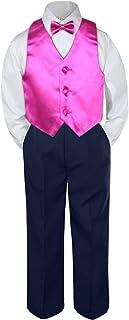 951d16ace00d Leadertux 4pc Baby Toddler Boy Fuchsia Pink Vest Bow Tie Navy Blue Pants  Set S-