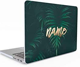 Personalised Custom Design Green Tropical Jungle Palm Leaf Personalized Text Name or Surname Macbook Air 13 inch Case With Retina Display and Touch ID, Model: A1932, Release 2018-2019, Hard Case Cover