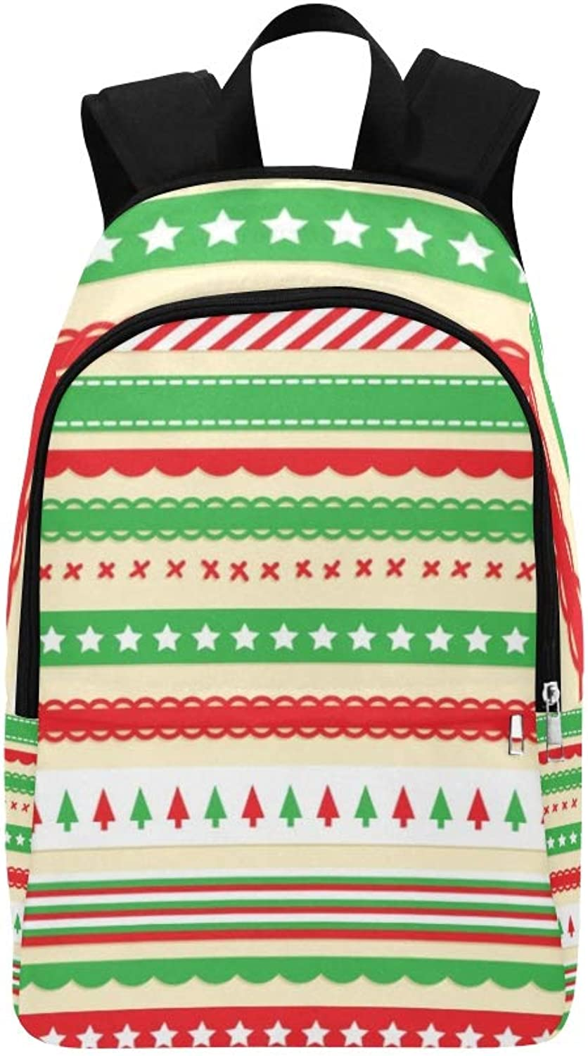 Bright Christmas Ribbon Casual Daypack Travel Bag College School Backpack for Mens and Women