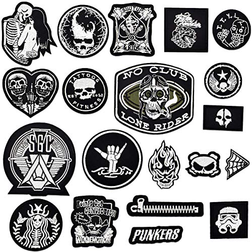 20PCS Toppe per Vestiti, (Skull/Punk) Toppe da Cucire, Toppe Termoadesive, Patch da Ricamo Patch di Ferro Applicazioni per Vestiti, Jeans, Giubbotti, Zaini, Cappello