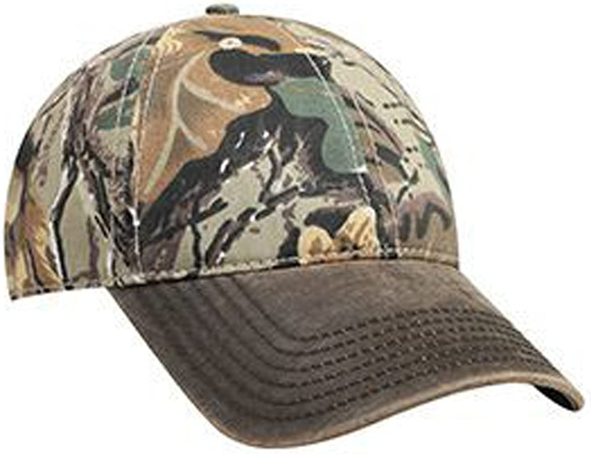 Camouflage 6 Panel Low Profile Baseball Cap Garment Washed Cotton Blend Twill w/Heavy Washed PU Coated Back