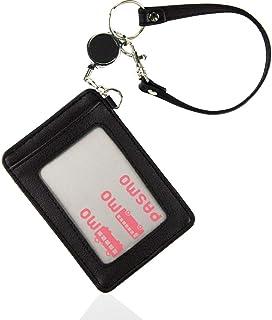 [Trelia] リール付き 定期入れ パスケース PU レザー 薄型 スリム 両面 カードケース メンズ レディース