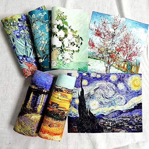 7 piezas de 20 x 25 cm de alta precisión de lienzo de algodón Van Gogh, tela para costura, tela para hacer bolsas, acolchar, decoración de pared, tela de algodón de materiales de costura