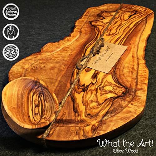 What the Art!® Olive Wood «Big Rustic» Gr. L | Olivenholz Schneidebrett inkl. Dip-Schälchen + Geschenk | ca. 46-49 x 20-26 x 2 cm | Käsebrett - Hackbrett - Tranchierbrett - Servierbrett