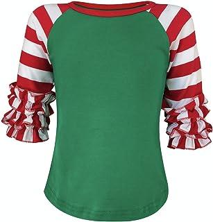 ILTEX Kids Ruffle Striped Christmas Raglan T-Shirt Red White Green Shirt